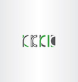 letter k set logo icon green gray vector image