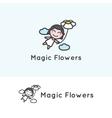 minimalistic young girl cartoon character vector image vector image