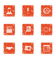 money trail icons set grunge style vector image vector image