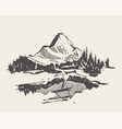 mountain spruce forest lake man boat sketch vector image vector image