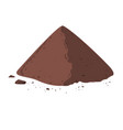 pile of cocoa powder cacao isolated on white vector image vector image