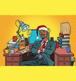 pop art african businessman christmas workplace vector image vector image