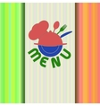 restaurant menu with chef hat line IO vector image vector image