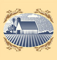 retro landscapes farm house vector image vector image
