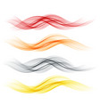 set of abstract color wave smoke transparent wavy vector image vector image