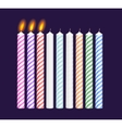 Set of birthday multicolored candles New burning