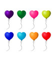 set of colorful realistic helium heart shaped vector image