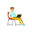 smiling businessman sitting on a chair and working vector image vector image