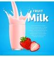 Strawberry sweet milkshake dessert cocktail vector image vector image