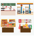 supermarket coffee shop oil station and clothing vector image vector image