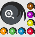 target icon sign Symbols on eight colored buttons vector image vector image