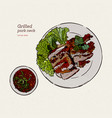 thai foodsgrilled pork with thai spicy sauce vector image vector image