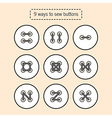 The ways for to sew buttons tutorial vector image