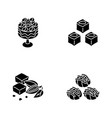 traditional sweets black glyph icons set on white vector image