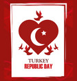 turkey republic day red heart shaped flag vector image vector image