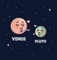 venus in love with pluto character emoticon vector image