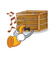 with trumpet crate mascot cartoon style vector image vector image