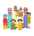 happy extended muslim family with cheerful smile vector image