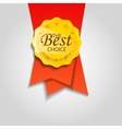 Vintage round badge with red ribbon vector image