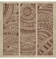 Abstract vintage ethnic pattern card set vector image