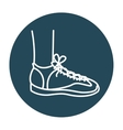 left foot with tennis isolated icon design vector image