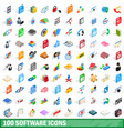 100 software icons set isometric 3d style vector image vector image