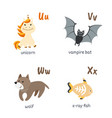 animal alphabet with unicorn vampire-bat wolf vector image