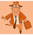 cartoon cheerful man in a suit and a hat vector image vector image