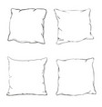 cartoon decorative pillows hand drawn set of vector image vector image