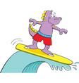 Cartoon dinosaur surfing vector image vector image