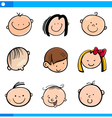 cartoon kids faces set vector image vector image
