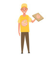 character courier pizza deliverys profession men vector image vector image