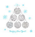 christmas card with hand drawn decorated balls vector image