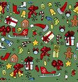 christmas toys sledges gifts vector image vector image