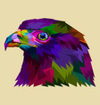 colorful eagle heads facing side vector image vector image