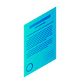 customer paper icon isometric style vector image