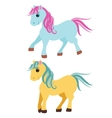 Cute cartoon pony little horses isolated on white vector image