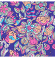 Cute colorful floral seamless pattern with bird vector image vector image