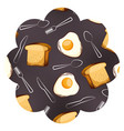 frame with eggs and cutlery pattern background vector image vector image