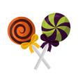 halloween sweet lollipops crossed isolated icon vector image