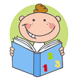 Happy Boy Reading A Book vector image vector image