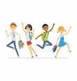 happy jumping schoolchildren - cartoon people vector image