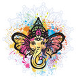 hindu lord ganesha over mandala pattern vector image