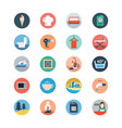 Hotel and Restaurant Flat Colored Icons 4 vector image
