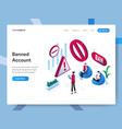 landing page template banned account isometric vector image