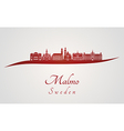 malmo skyline in red vector image vector image
