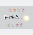 media concept with creative light bulb idea vector image