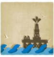 oil platform in blue sea vector image vector image