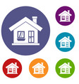 one-storey house with a chimney icons set vector image vector image