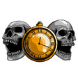 pocket watch with human skulltime and death vector image vector image